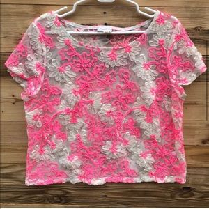 Anthropologie | Meadow Rue White Pink Top Large